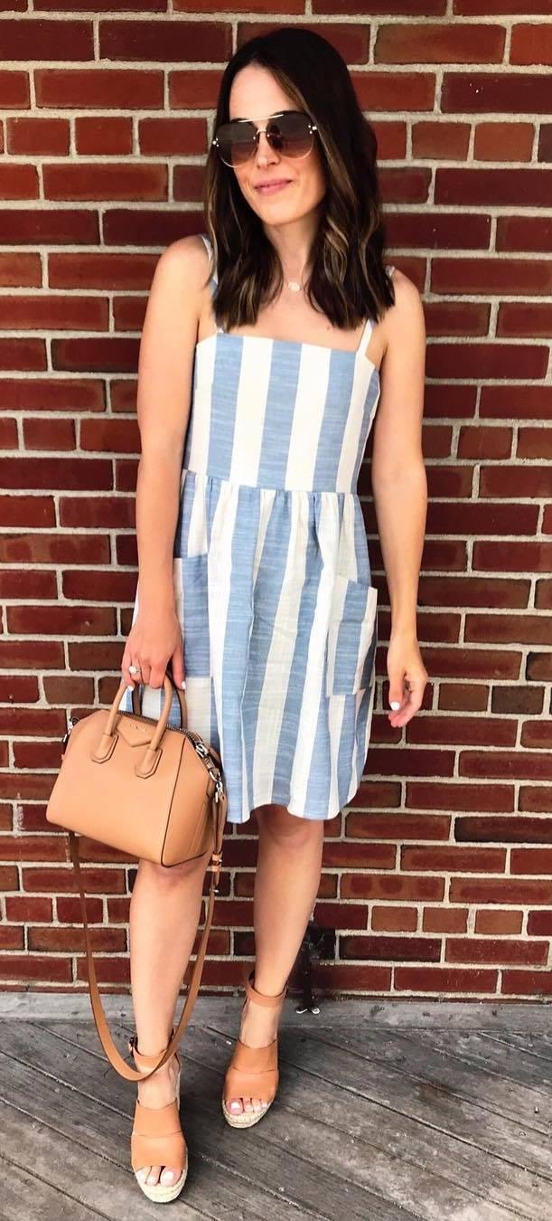 summer fashion trends / bag + platform sandals + dress