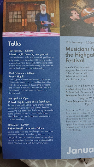 Robert Hugill's pre-concert talks as part of the Spring 2020 season at Conway Hall Sunday Concerts