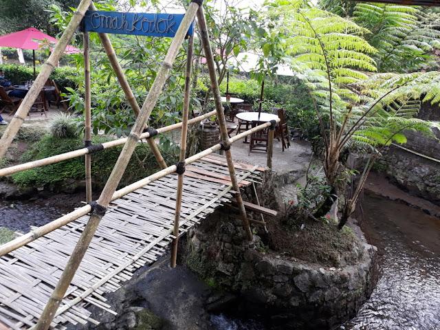 Jembatan Bambu menuju Omah kodok special teh dan resto