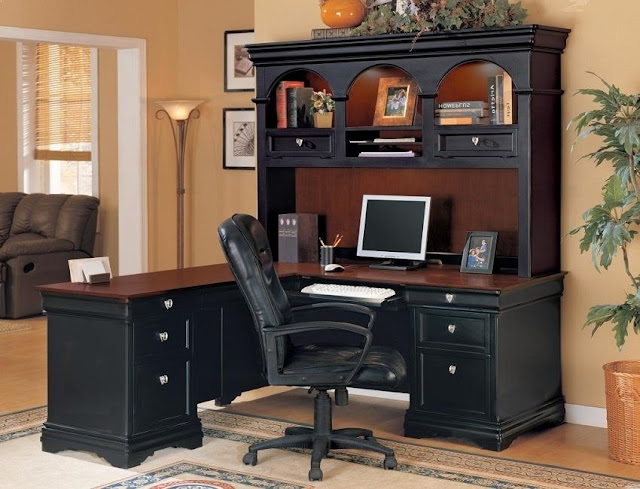 best buy black rustic office furniture with hutch for sale