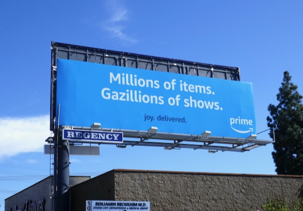 Amazon Prime Millions items Gazillions shows billboard