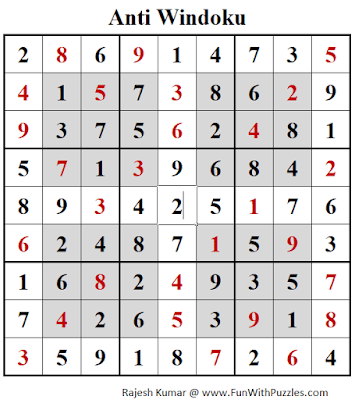 Solution of Anti Windoku Puzzle (Daily Sudoku League #209)
