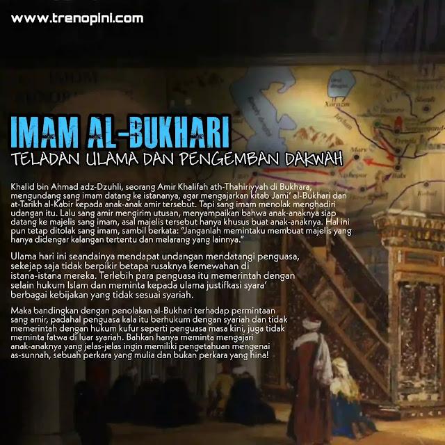 tulisan ini menjelaskan secara ringkas dua hal berikut: Pertama, mengenai ilmu yang dikuasai al-Bukhari, yakni: upaya serius al-Bukhari dalam memperoleh serta menyampaikan ilmunya; Kedua: mengenai prinsip hidup al-Bukhari yang realitasnya ada, namun belum dijelaskan, serta kecintaanya pada kebenaran dan agama.