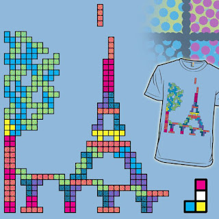 """Submission for """"Not Playing to Win"""" -- Eiffel Tower Tetris art using pointillism"""