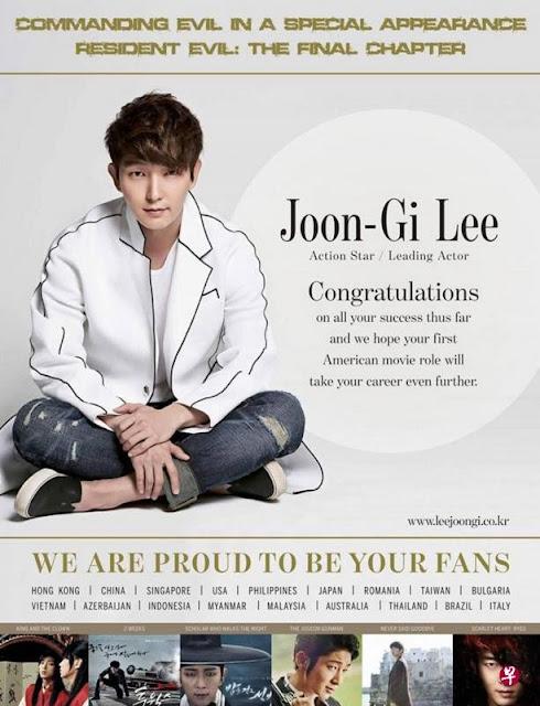 Người hâm mộ dành nguyên trang quảng cáo trên tạp chí 'The Hollywood Reporter' để chúc mừng Lee Joon Gi