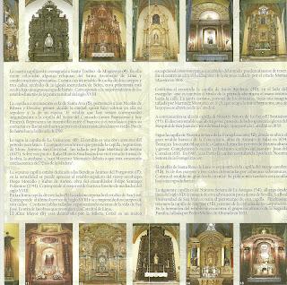 Panfleto da Catedral de Lima: Capelas