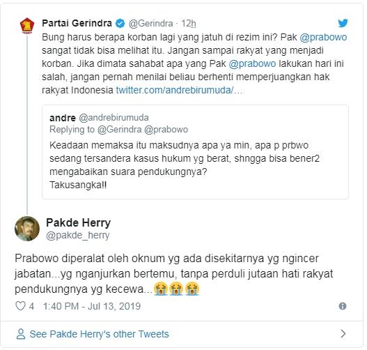 Kecewa, Netizen 'Serang' Twitter Gerindra dan Prabowo