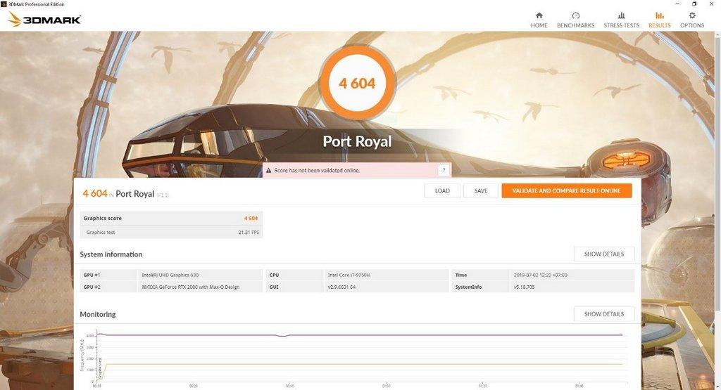 Benchmark 3DMark Port Royal Asus ROG Zephyrus GX701GXR