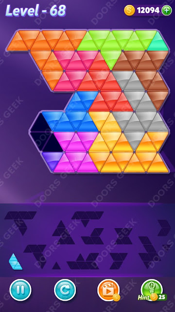 Block! Triangle Puzzle Champion Level 68 Solution, Cheats, Walkthrough for Android, iPhone, iPad and iPod