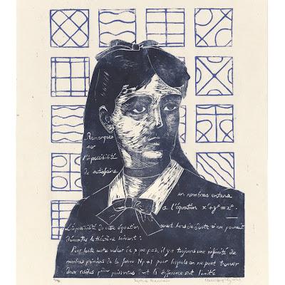 Linocut 'Sophie Germain' by Ele Willoughby, 2021