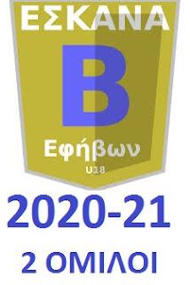 Δύο όμιλοι των 14 ομάδων στην Β΄ Εφήβων 2020-21