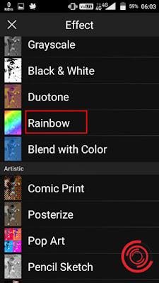2. Gulir kebawah untuk menemukan efek Rainbow