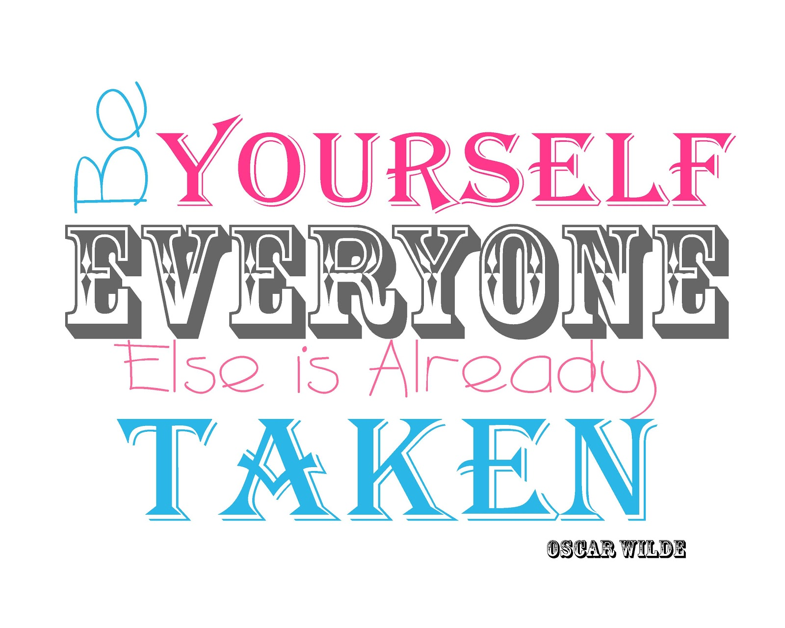 8x10 Oscar Wilde Quotes Be Yourself Everyone Else Is Already TakenJust Be Yourself Everyone Else Is Taken