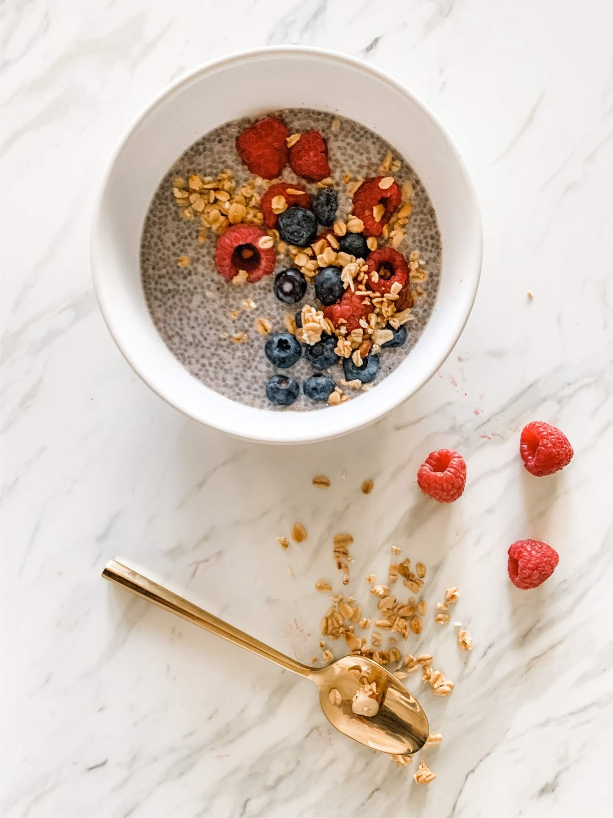 Chia seed pudding with berries and granola