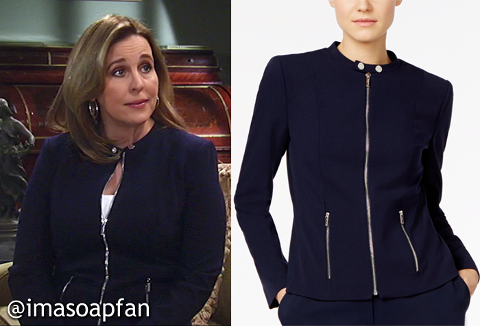 Laura Spencer, Genie Francis, Dark Blue Zip-Front Jacket, Calvin Klein, GH, General Hospital, Season 55