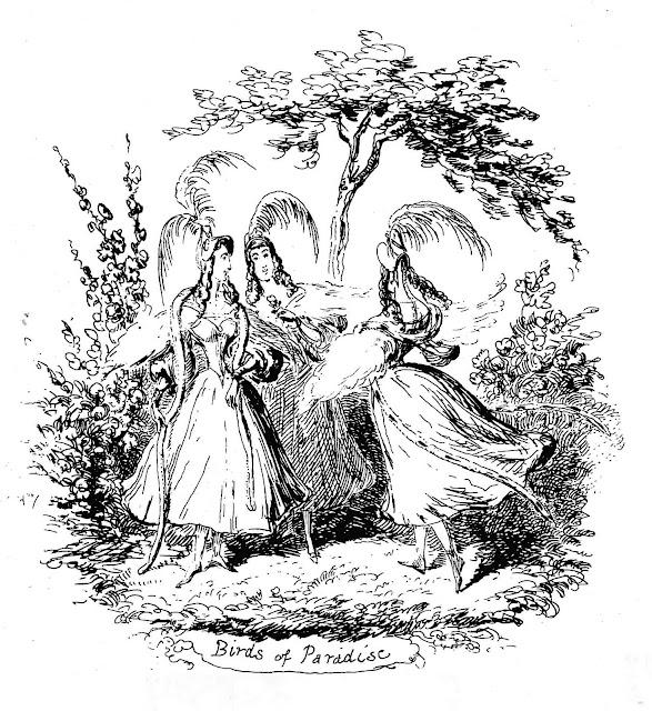 Birds of Paradise, a George Cruikshank drawing of frivolous gaiety with three girls