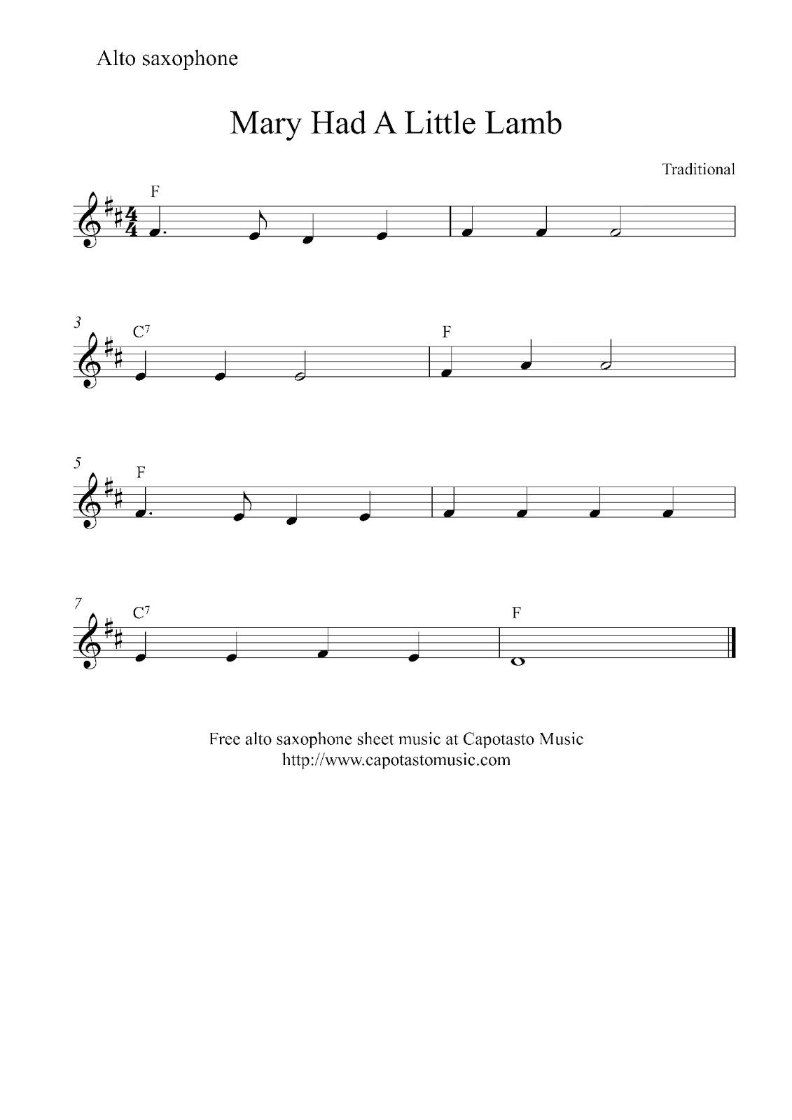Free Easy Alto Saxophone Sheet Music Mary Had A Little Lamb