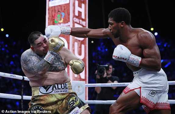Anthony Joshua Huge Punch Cuts Andy Ruiz In Left Eye, Wins First Round (Video)