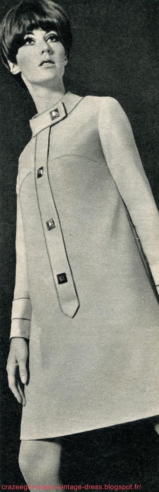 vintage dress 1967 60s 1960 annees 60 mod twiggy robe fibre polyester Trevira , création Maurice