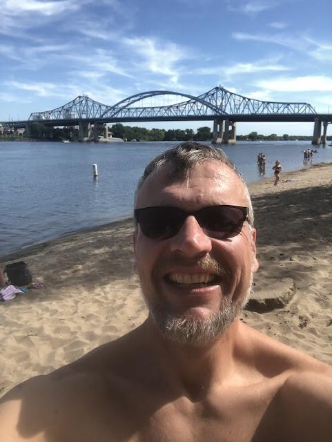 Ich beim Bad im Mississippi River bei La Crosse in Wisconsin