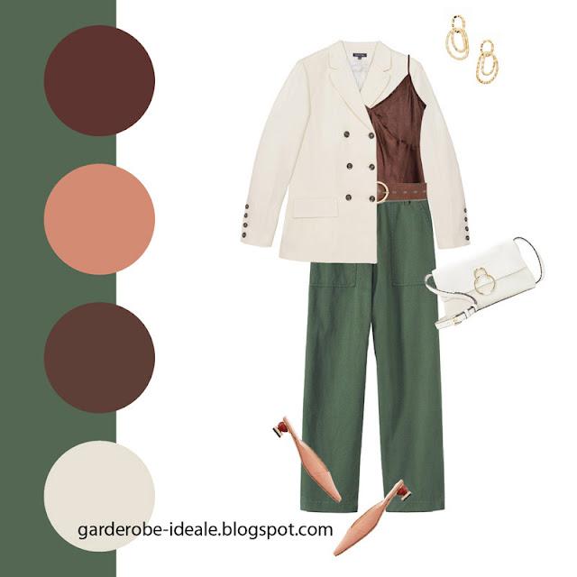 Зеленые брюки карго с шелковым топом и белым жакетом