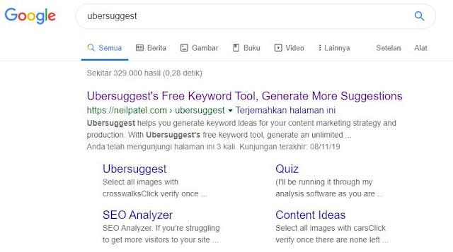 menentukan keyword menggunakan ubersuggest