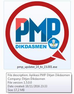 jika aplikasi PMP yang Anda gunakan saat ini adalah PMP versi  Download Patch Aplikasi PMP Versi 1.5 Tanggal Rilis 17 November 2016