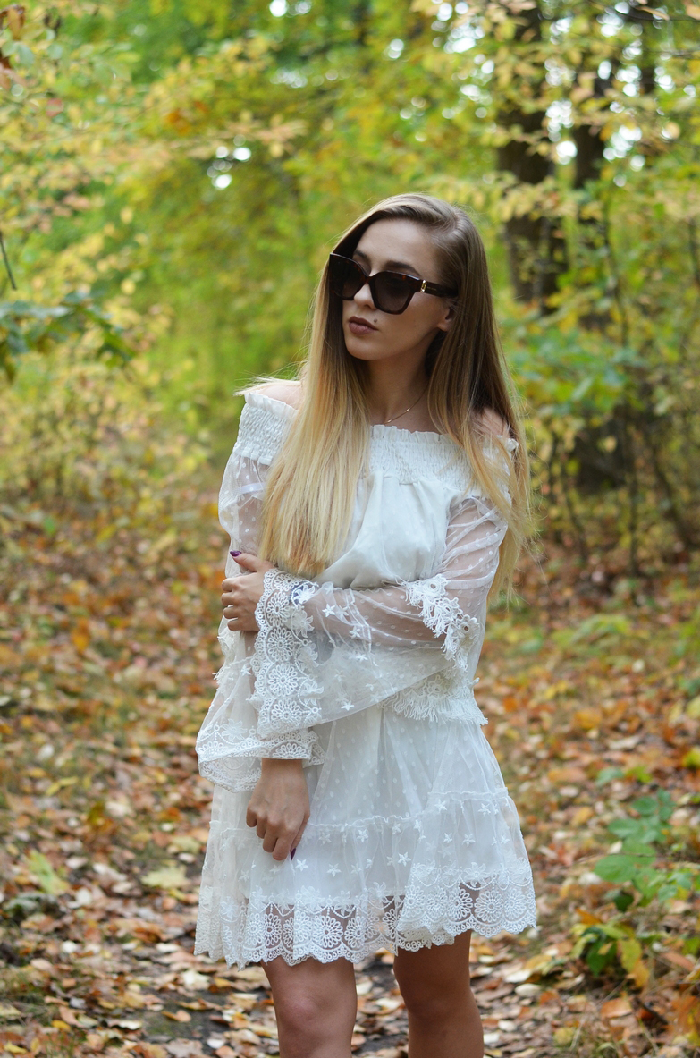 LONG CARDIGAN + LACE DRESS