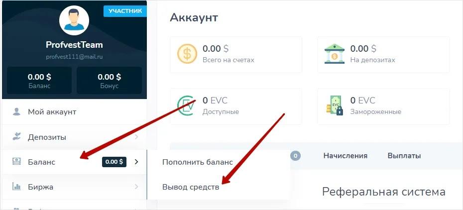 Вывод средств в Evercont
