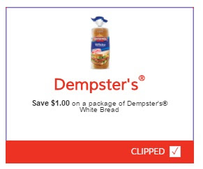 Dempsters $1 Off White Bread Coupon