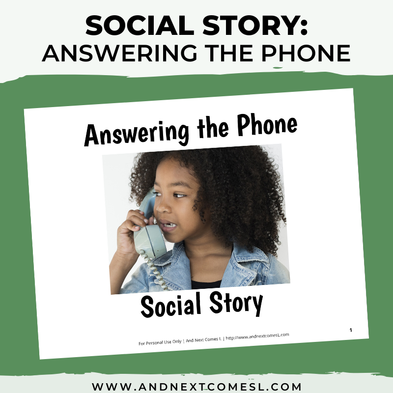 Printable social story for kids with autism about how to answer the phone