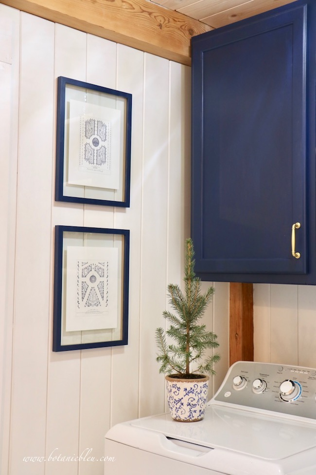 Blue Christmas Laundry Room decorated early with evergreen seedling
