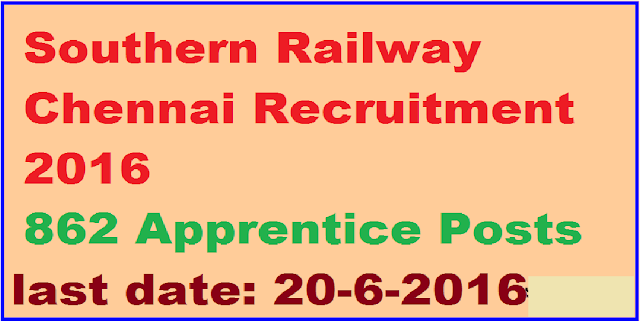 Southern Railway Chennai Recruitment 2016 – 862 Apprentice Posts /2016/06/southern-railway-chennai-recruitment-2016-862-apprentice-posts.html