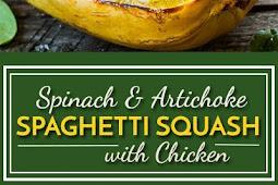 Spinach Artichoke Spaghetti Squash Boats with Chicken
