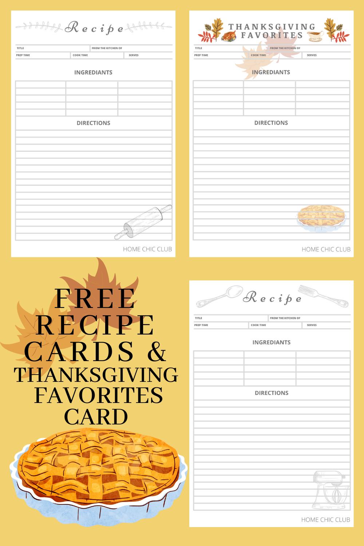 Free Recipe Cards & Thanksgiving Favorites Card