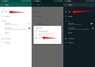 Whatsapp dark mode activation droidvilla