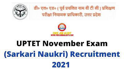Free Job Alert: UPTET November Exam (Sarkari Naukri) Recruitment 2021