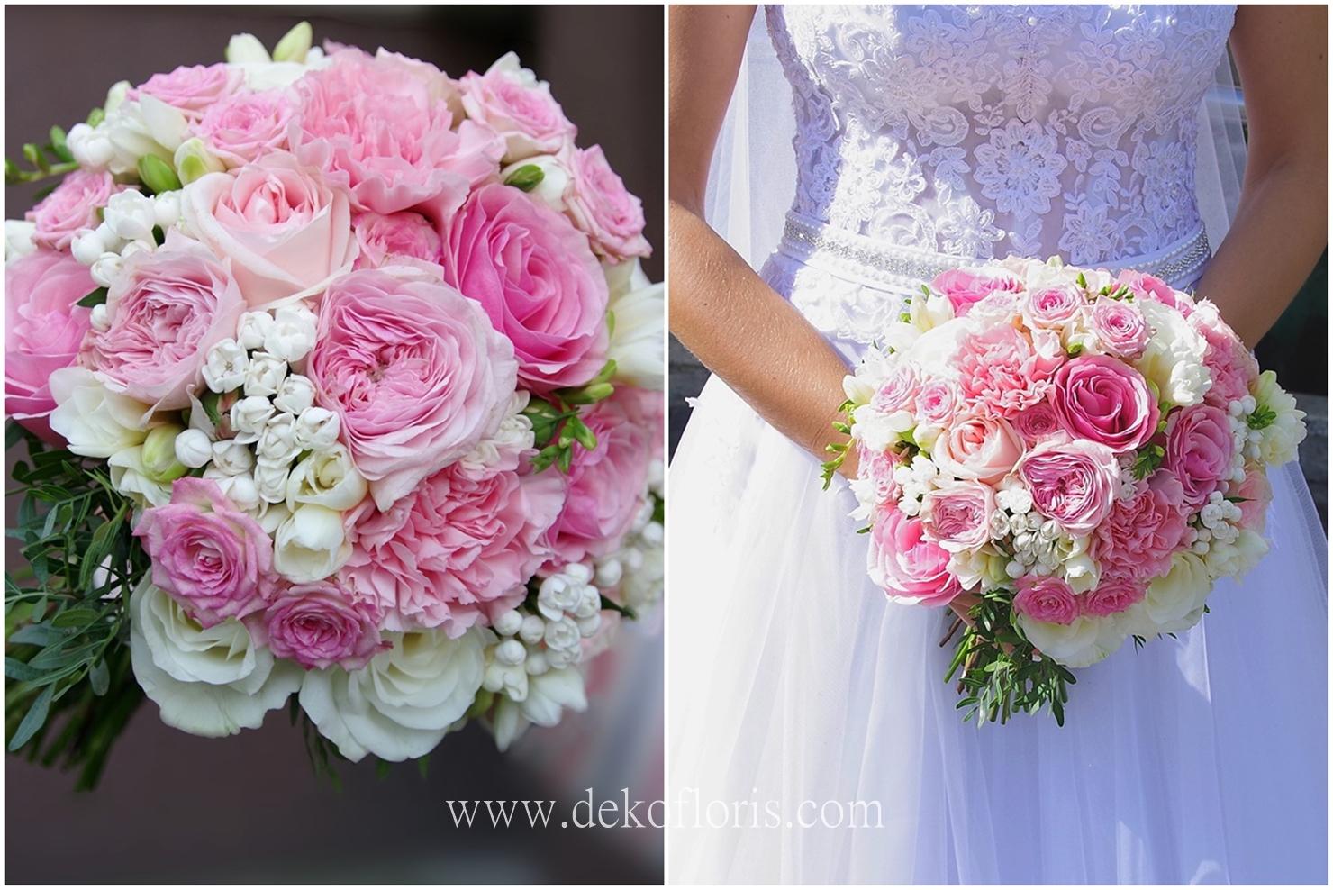 Różowy bukiet ślubny opolskie