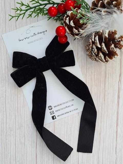 black long tail velvet ribbon bow