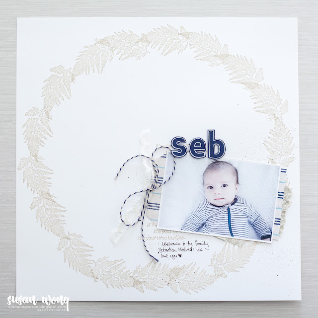 Daisy Lane Baby Scrapbook / Memory page - Susan Wong for Fancy Friday