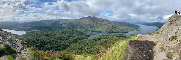 Panorama over Loch Katrine from Ben A'an, Trossachs National Park, Scotland