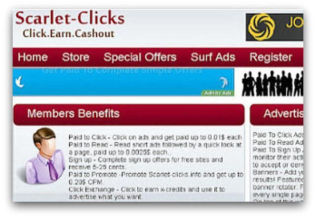Zarobki wScarlet-Clicks(oglądanie reklam).