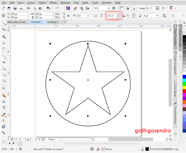 Corel Draw snap to center odd triangle polygon center circle