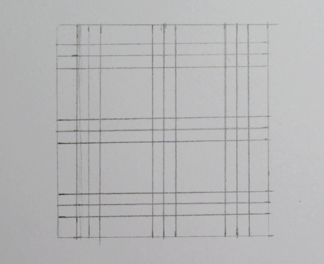 Líneas dibujadas de tres en tres en horizontal y vertical entrecruzándose