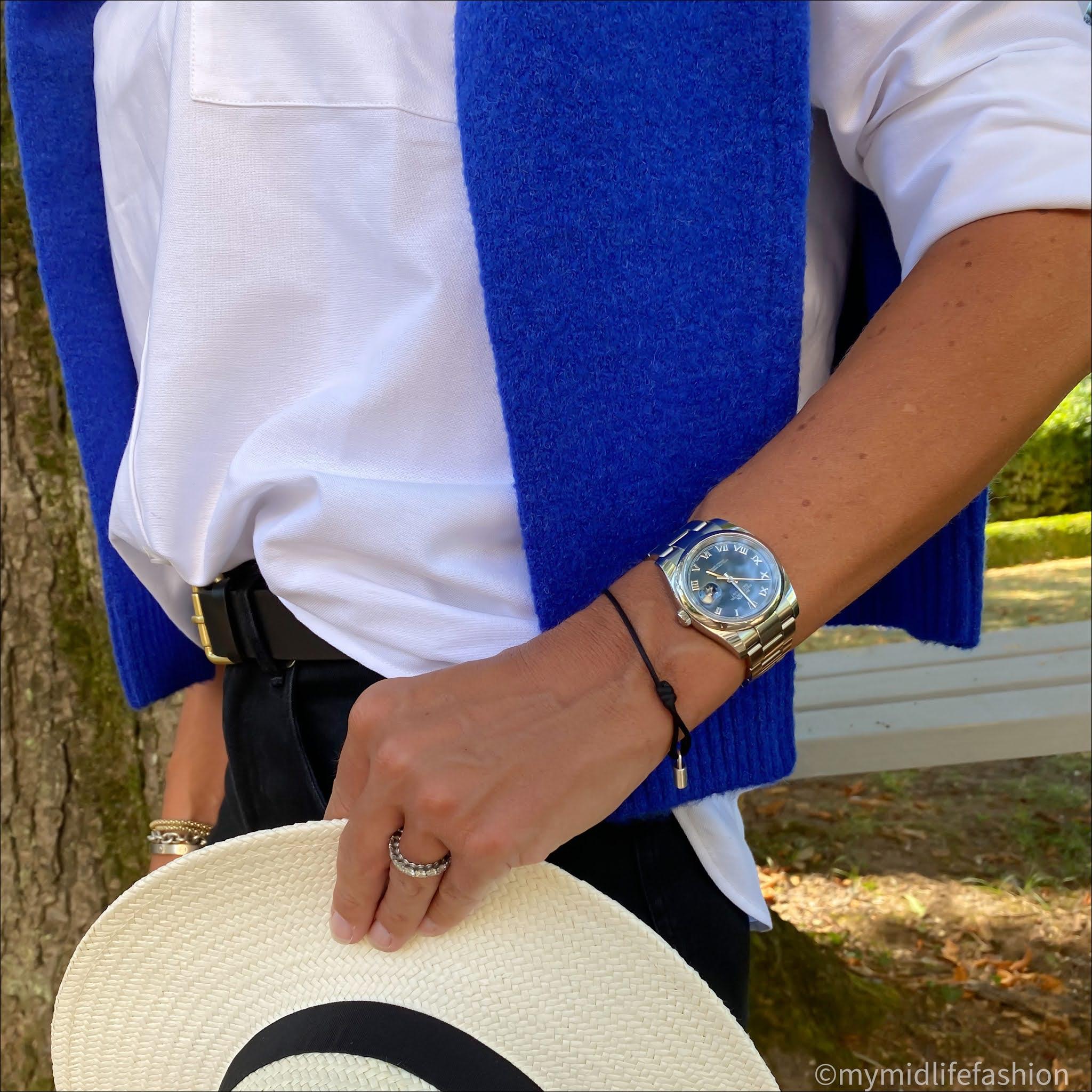 my midlife fashion, baukjen the boyfriend jeans, baukjen Rhiannon v neck jumper, buakjen heather organic cotton shirt, zara Panama hat, boden classic leather belt, Ancient Greek sandals