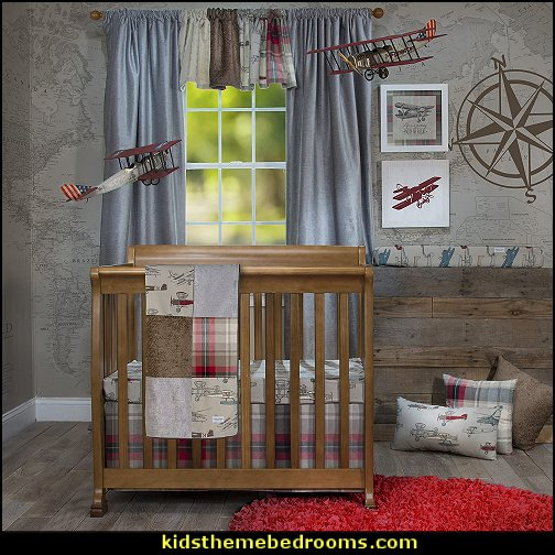 airplane Fly-by airplane baby nursery decorating ideas Vintage Airplane baby bedroom