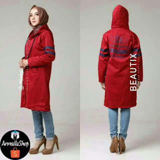 Jaket Hijab Hijacket Beautix Maroon Ruby Original SPORTY PREMIUM FLEECE