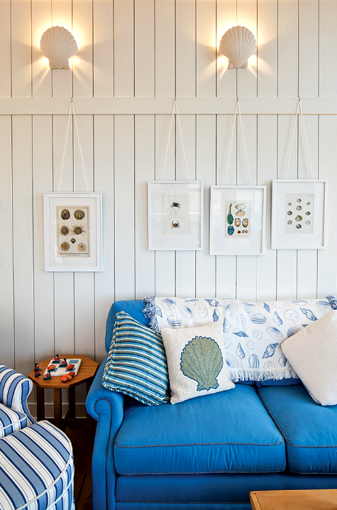 Blue Coastal Cottage Seashell Decor