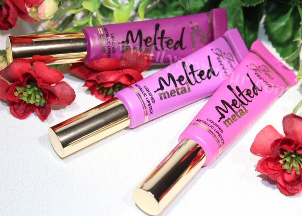 Too Faced Metal Liquified Metallic Lipsticks in Dream House, Jelly & Violet