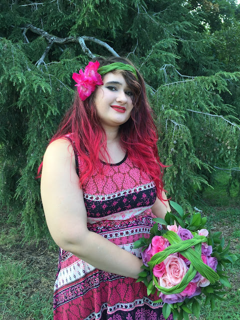 Bohemian Wedding Bouquet and Hairband with Roses and Steel Grass by Stein Your Florist Co.